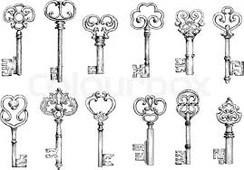 ornamental vintage skeleton sketches decorated by forged