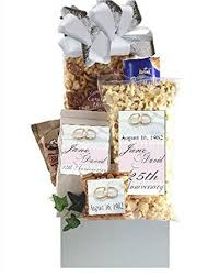 anniversary gift basket 25th wedding anniversary gift basket gourmet snacks