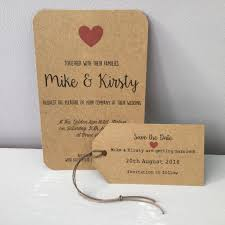Wedding Invitations Rustic Wedding Invitation Rustic Charm Red Hearts On Brown Card Set