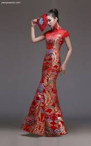 Chinese Wedding Gown Modified Cheongsam Lace Bridal Qipao Mermaid