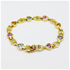 yellow bracelet images 14k yellow gold heart shape gemstone bracelet ebth 0&amp
