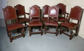set 8 gothic oak dining chairs by gillow 510124