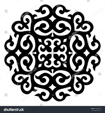goat horns ornaments central asia isolated stock vector 389906377