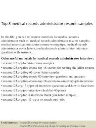 Resume Sample Technician by Medical Records Resume Samples Splixioo