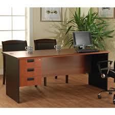 outstanding big computer desk design with brown oak wooden along