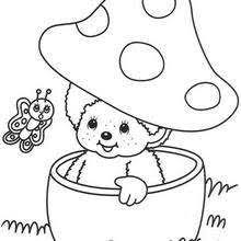 monchhichi with mushrooms coloring pages hellokids com