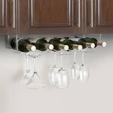 under cabinet 6 wine bottle u0026 6 glass rack 3 channel stainless