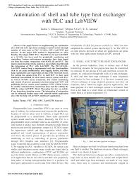 automation of shell and tube type heat exchanger with plc and