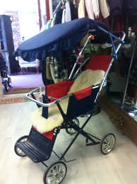 Baby Stroller Canopy by Vintage Mothercare Pushchair In Navy And Red With Sheepskin