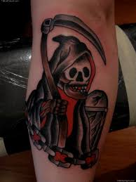 traditional black ink grim reaper tattoo on sleeve