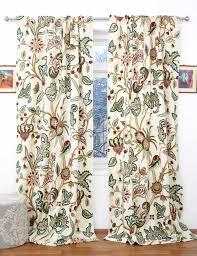 Embroidered Curtain Panels Zanskar Crewel Curtain Panels And Drapes Hand Embroidered Velvet