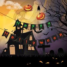 happy halloween image amazon com happy halloween banner flags party banners halloween