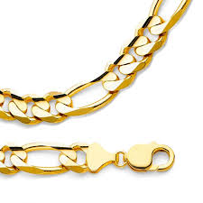 big gold necklace men images Big figaro chain 14k yellow gold necklace mens heavy large jpg
