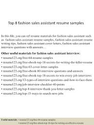 Sales Assistant Resume Sample by Top8fashionsalesassistantresumesamples 150512234916 Lva1 App6892 Thumbnail 4 Jpg Cb U003d1431474598