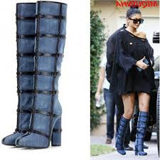 womens boots 2017 fashion denim caged thigh high boots 2017 high heels