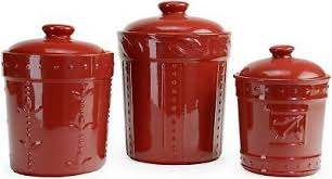 american atelier chili red four piece ceramic canister set kitchen