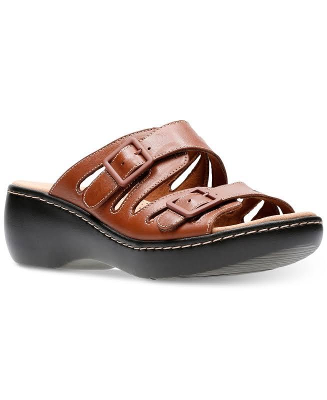 Clarks Delana Liri Leather Platforms Wedges Brown 8 Wide (C,D,W)