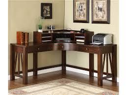Teak Home Office Furniture by Dark Brown Varnished Teak Wood Corner Desk Which Furnished With