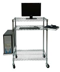 Wire Shelving Desk Computer Wire Cart Distributes Computer Parts