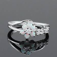 white stones rings images Stunning flower fire opal stones rings obecy store jpg