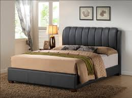 Leather Headboard Platform Bed Black Queen Size Modern Headboard Tufted Design Leather Look