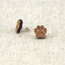 wood stud earrings dog paw print wooden stud earrings shop online with free shipping