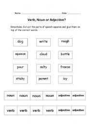 adjectives and nouns worksheet worksheets grammar cut and paste verb noun or adjective