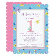 girls butterflies 1st birthday party invitations u0026 announcements