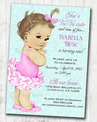 vintage ballerina birthday invitation for ballet party
