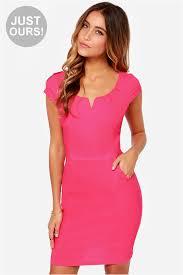 pink dress hot pink dress bodycon dress office dress 35 00