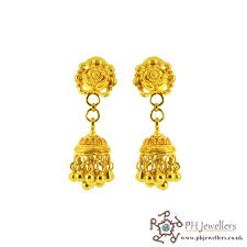 gold jhumka earrings online gold jewellery gold jewellery 22ct 916 hallmark yellow