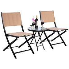 Textilene Patio Furniture by 3 Pcs Folding Steel Table Chairs Set Outdoor Furniture Sets