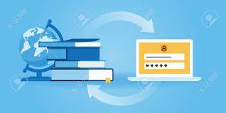 design online education flat line design website banner of e learning online education