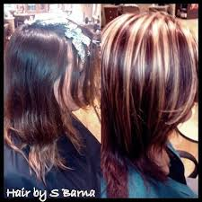 mahogany red hair with high lights hair by barna after is bright blonde highlights with high def red