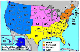 map of usa showing southern states i like this version of a us regions map divided into 4 overall