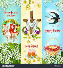 happy easter he risen festive banner stock vector 584823325