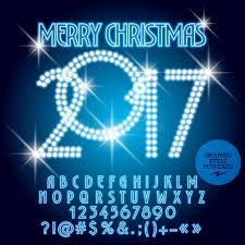 vector blue light up merry 2017 greeting card stock