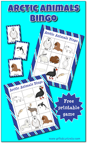 arctic animals bingo free printable gift of curiosity