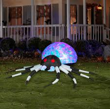 large black and white spider airblown with kaleidoscope lights