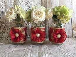 Mason Jar Vases Wedding Dark Red Burlap And Lace Covered 3 Mason Jar Vases Wedding