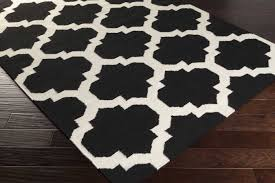 Area Rug Black Rugs Curtains Cool Black And White Moroccan Pattern Area Rugs