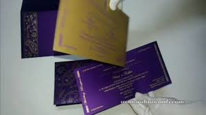 wedding cards india online w 4454 purple color shimmer paper wedding cards online indian