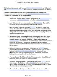 Free Residential Lease Agreement Templates Free California Sub Lease Agreement Pdf Word Doc
