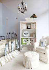 white iron crib nursery shabby chic style with mocha chandelier