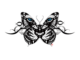 white tiger butterfly tattoo with tribal accent back tattoo