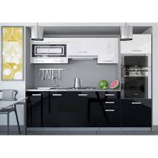 cuisine noir et blanc laqué justhome paula i cuisine équipée complète 240 cm couleur noir