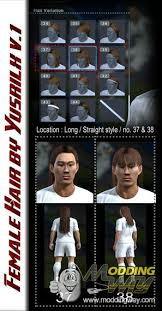 pes 2013 hairstyle female long hair style by yuzz pro evolution soccer 2013