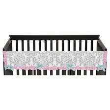 sweet jojo designs skylar long crib rail guard cover pink target