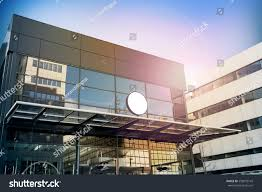 Modern Business Building Design Blank White Round Signage Mockup Modern Stock Photo 558072145
