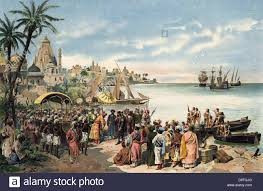 Vasco Da Gama Route Map vasco da gama c 1460 1524 portugese explorer arriving in